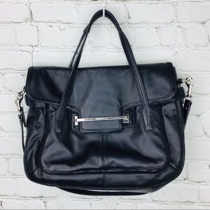 Coach Taylor Marin flap Leather Satchel black